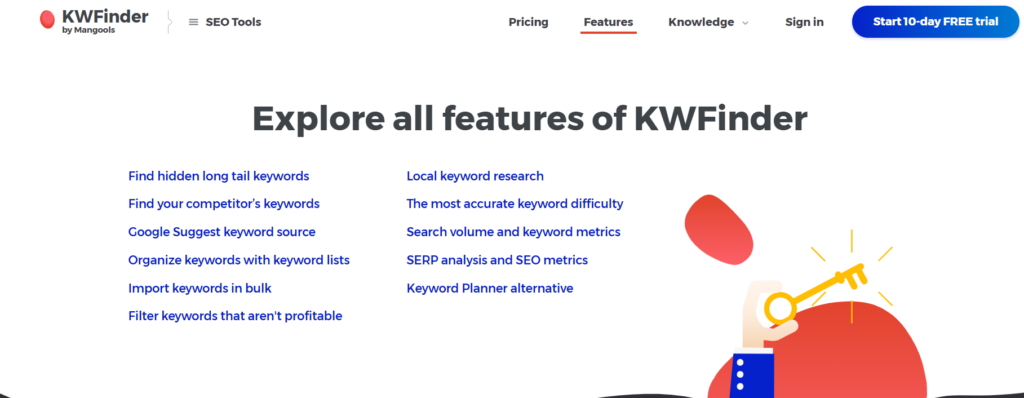KW Finder SEO tool