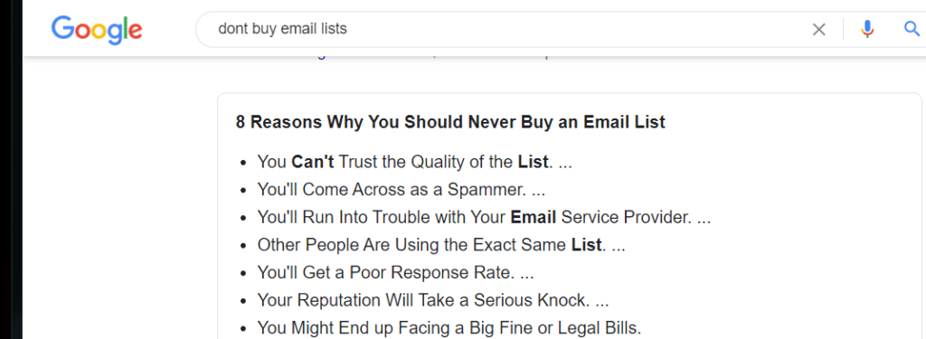 Marketing correctly means you can  build an email list organically.