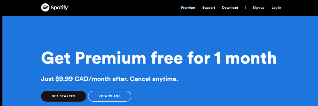 Spotify uses a call to action. Their CTA implies premium content and a risk free offer. They market their services by offering a free month or service.
