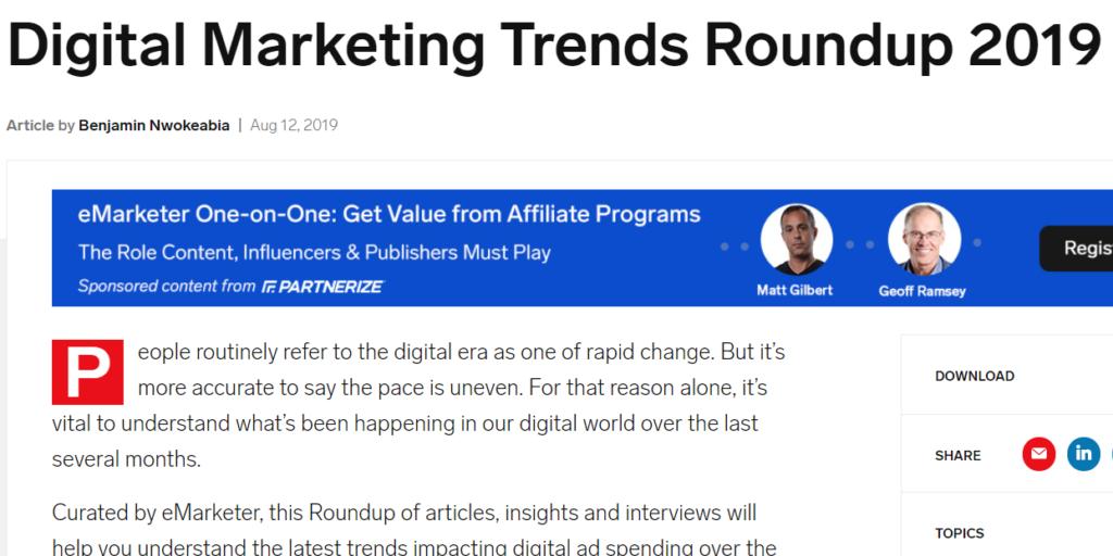 Digital marketing roundup. Example of a digital marketing roundup.